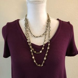 Jewelry - 3 layer brass and crystal necklace